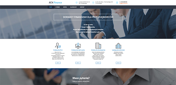 Strona internetowa ACK Finance